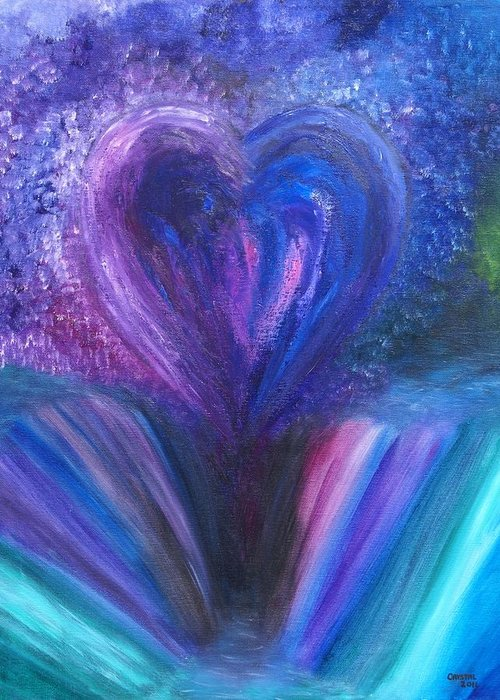 Landscape Greeting Card featuring the painting Heart's Desires And Destruction by Crystal Mccormick
