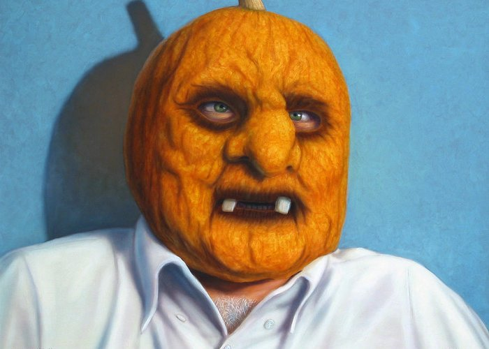 Halloween Greeting Card featuring the painting Heavy Vegetable-head by James W Johnson