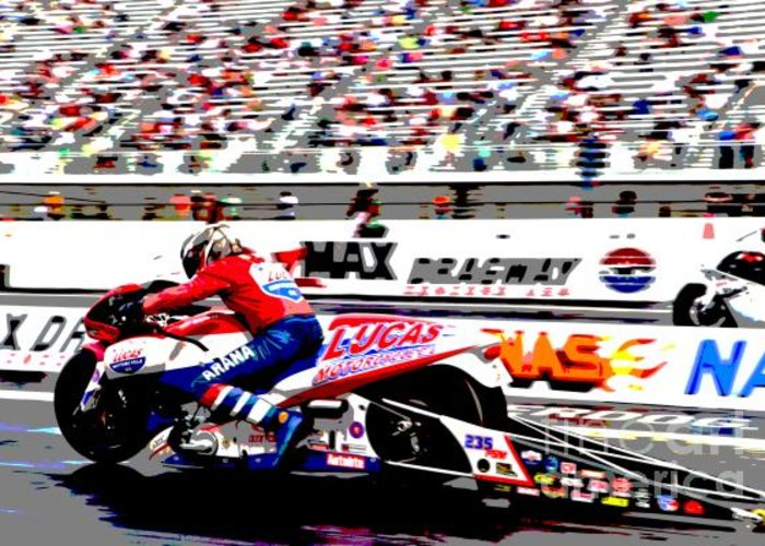Nhra Greeting Card featuring the photograph Hector Arana Poster by Frank Boellmann