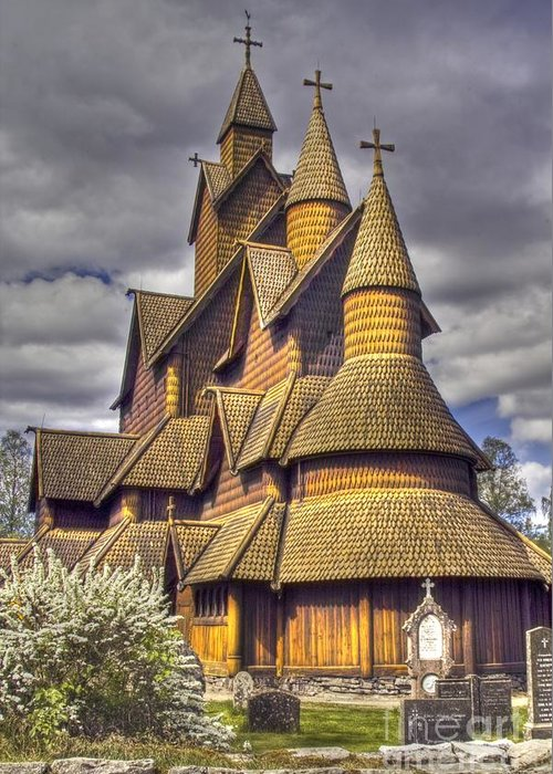 Religious Greeting Card featuring the photograph Heddal Stave Church by Heiko Koehrer-Wagner
