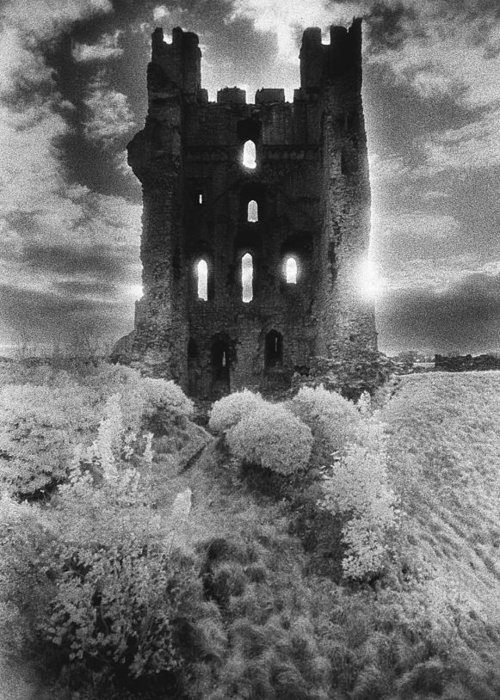 Medieval; Glowing; Sunlight Greeting Card featuring the photograph Helmsley Castle by Simon Marsden