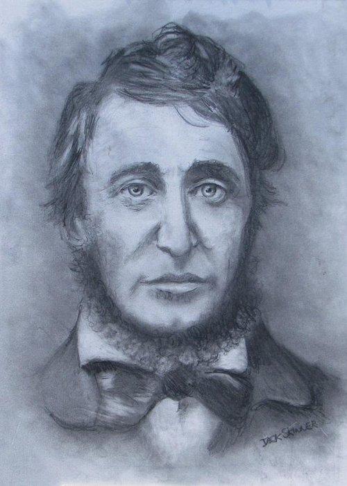 Henry David Thoreau Greeting Card featuring the drawing Henry David Thoreau by Jack Skinner