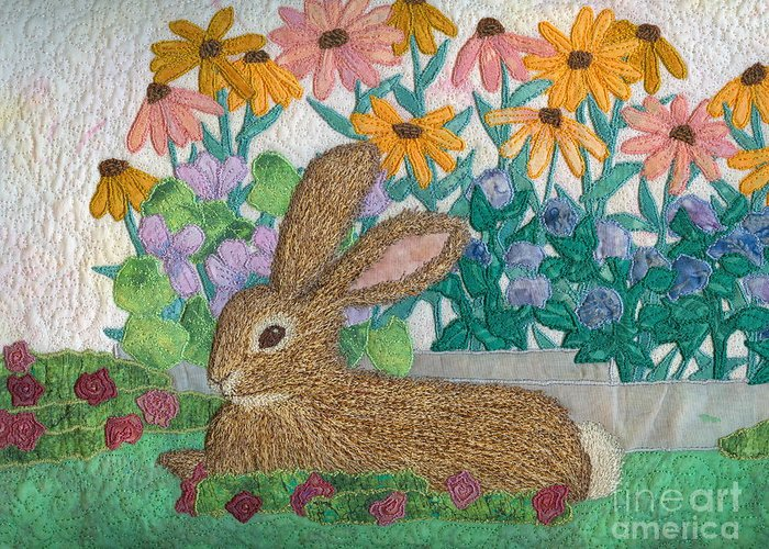 Rabbit Art Print Greeting Card featuring the tapestry - textile Henry by Denise Hoag