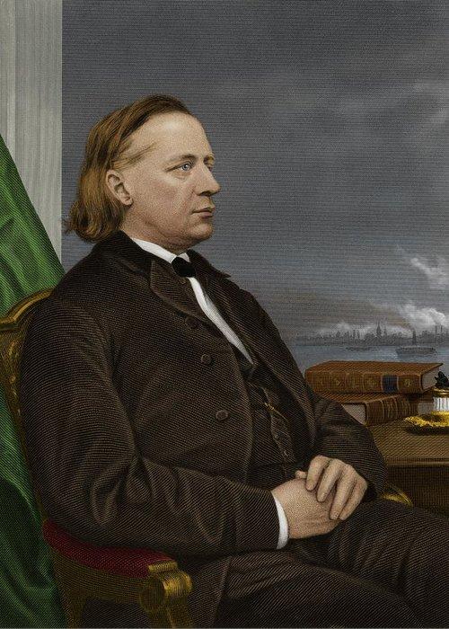 1800s Greeting Card featuring the photograph Henry Ward Beecher, Us Social Reformer by Maria Platt-evans