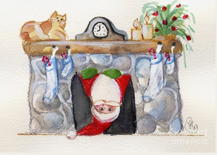Christmas Greeting Card featuring the painting Here Comes Santa Claus by Sylvia Pimental