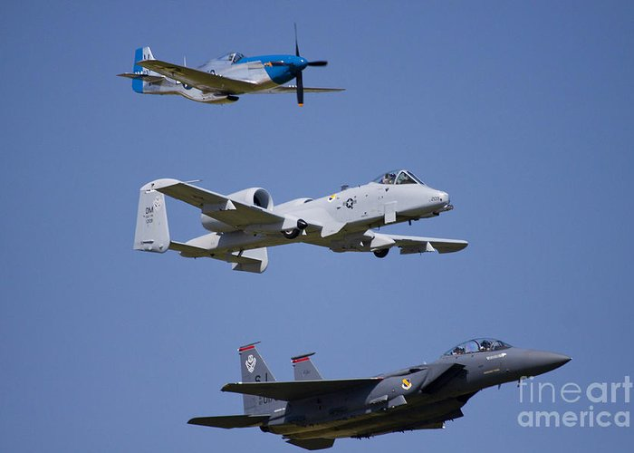 Heritage Flight Greeting Card featuring the photograph Heritage Flight Wings Over Whitman by Linda Gardner-Goos
