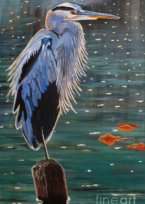 Sold Greeting Card featuring the painting Heron In Blue by Janet McDonald