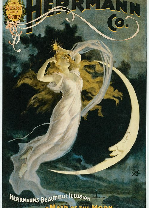 Herrmann Greeting Card featuring the painting Herrmann Maid Of The Moon by Unknown