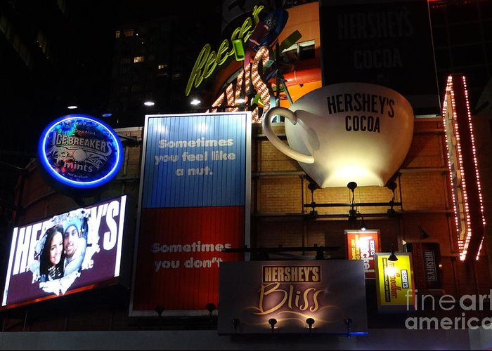 Times Square Greeting Card featuring the photograph Hershey's At Times Square 85 by Padamvir Singh