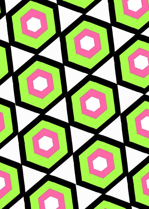 Louisa Greeting Card featuring the digital art Hexagon by Louisa Knight