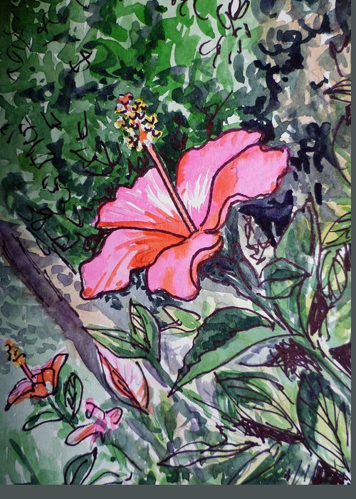 Hibiscus Greeting Card featuring the painting Hibiscus Sketchbook Project Down My Street by Irina Sztukowski