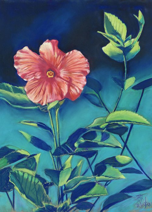 Flowers Greeting Card featuring the pastel Hibisicus by Billie Colson