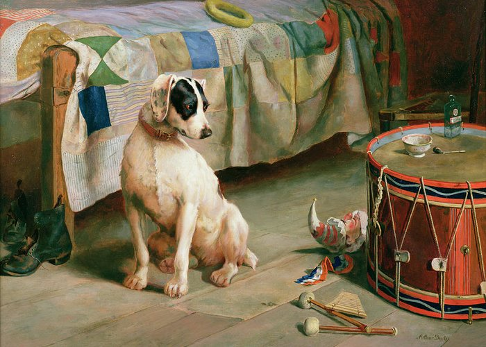 Dog; Collar; Drum; Medicine; Punch; Bedspread; Pipe; Terrier Greeting Card featuring the painting Hide And Seek by Arthur Charles Dodd