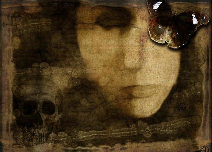 Woman Greeting Card featuring the digital art Hiding Behind Beauty by Gun Legler