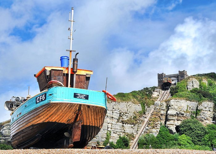 Funicular Railway Hastings Greeting Card featuring the photograph High And Dry by Graham Taylor