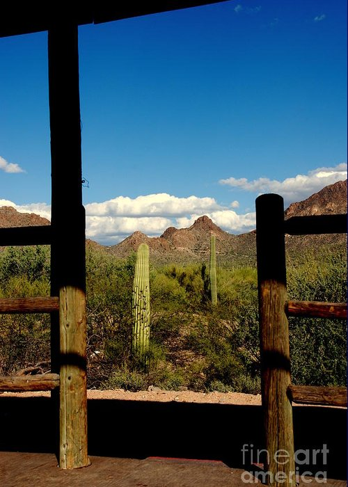 High Chaparral Greeting Card featuring the photograph High Chaparral Old Tuscon Arizona by Susanne Van Hulst