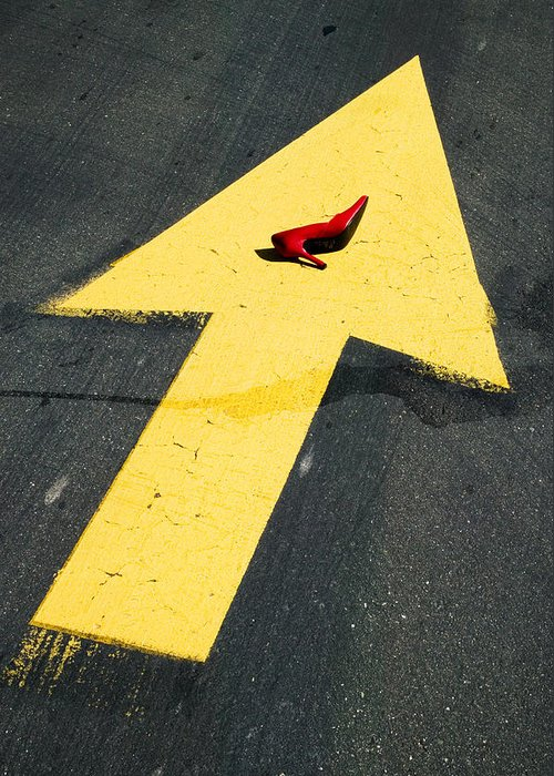 Red Greeting Card featuring the photograph High Heel And Arrow by Garry Gay