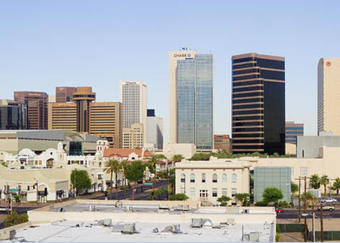 Architecture Greeting Card featuring the photograph High Rise Buildings Of Downtown Phoenix by Jeremy Woodhouse