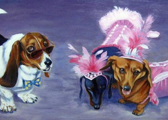 Dogs Greeting Card featuring the painting Highclass Hotdogs by Pat Burns
