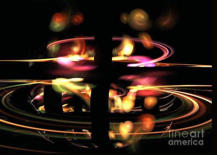 Apophysis Greeting Card featuring the digital art Highway Lights by Kim Sy Ok