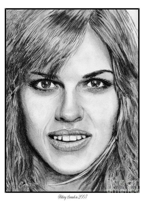 Hilary Swank Greeting Card featuring the drawing Hilary Swank In 2007 by J McCombie