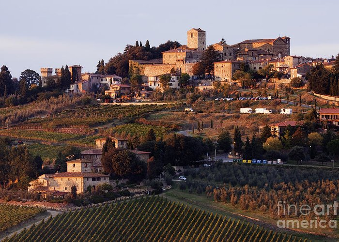 Agriculture Greeting Card featuring the photograph Hill Town Of Panzano At Dusk by Jeremy Woodhouse