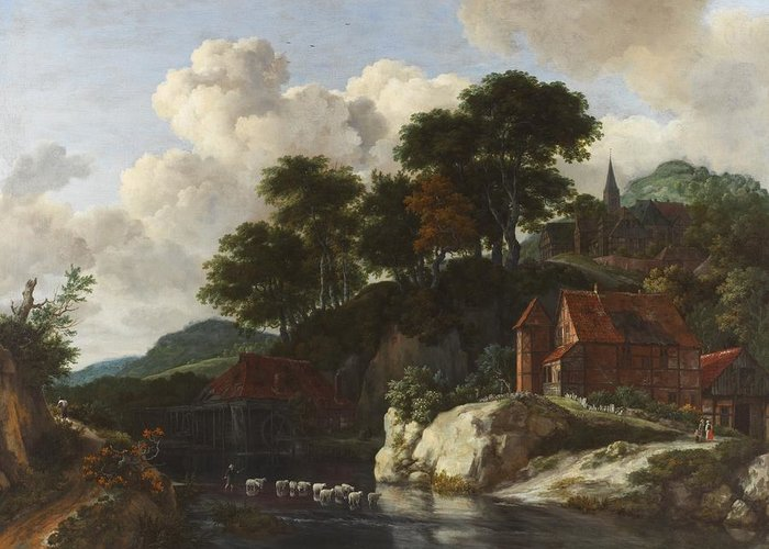 Hilly Greeting Card featuring the painting Hilly Landscape With A Watermill by Jacob Isaaksz Ruisdael