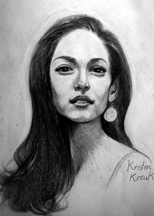 Kristen Kreuk Greeting Card featuring the drawing His First Love by Ulysses Albert III