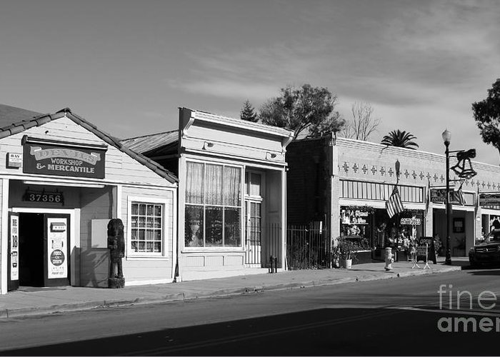 Black And White Greeting Card featuring the photograph Historic Niles District In California Near Fremont . Main Street . Niles Boulevard . 7d10676 . Bw by Wingsdomain Art and Photography