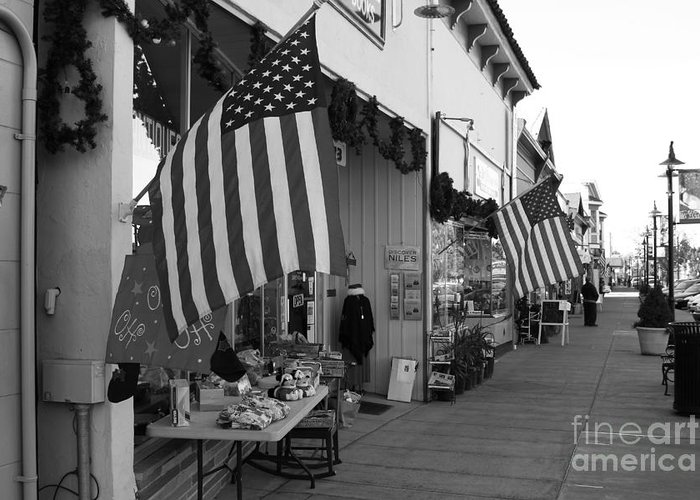 Americana Greeting Card featuring the photograph Historic Niles District In California Near Fremont . Main Street . Niles Boulevard . 7d10692 . Bw by Wingsdomain Art and Photography