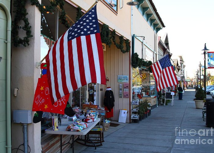 Americana Greeting Card featuring the photograph Historic Niles District In California Near Fremont . Main Street . Niles Boulevard . 7d10692 by Wingsdomain Art and Photography
