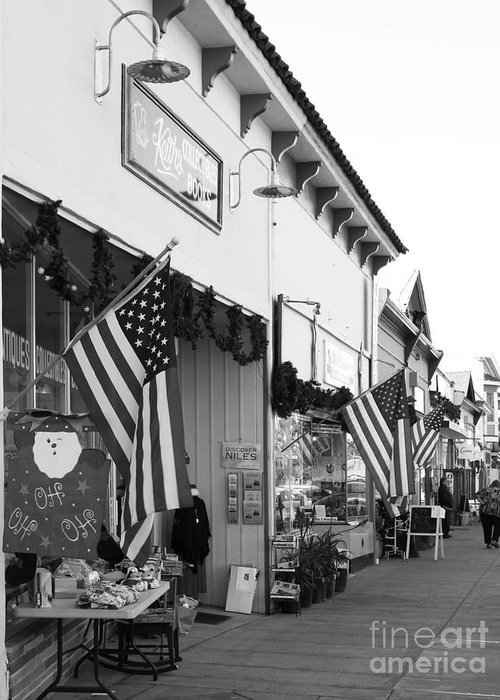 Black And White Greeting Card featuring the photograph Historic Niles District In California Near Fremont . Main Street . Niles Boulevard . 7d10693 . Bw by Wingsdomain Art and Photography