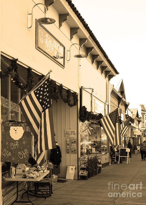 Black And White Greeting Card featuring the photograph Historic Niles District In California Near Fremont . Main Street . Niles Boulevard . 7d10693 . Sepia by Wingsdomain Art and Photography