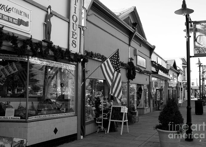 Americana Greeting Card featuring the photograph Historic Niles District In California Near Fremont . Main Street . Niles Boulevard . 7d10701 . Bw by Wingsdomain Art and Photography