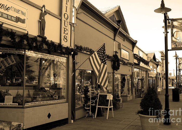 Americana Greeting Card featuring the photograph Historic Niles District In California Near Fremont . Main Street . Niles Boulevard . 7d10701 . Sepia by Wingsdomain Art and Photography