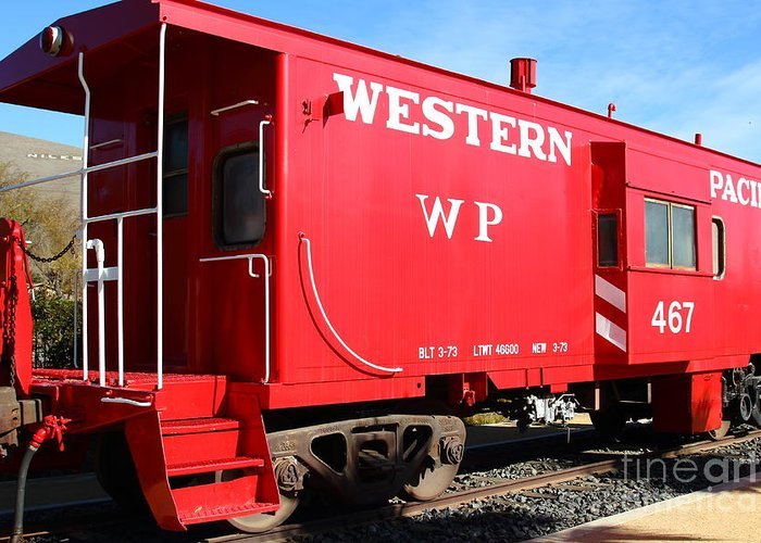 Transportation Greeting Card featuring the photograph Historic Niles District In California Near Fremont . Western Pacific Caboose Train . 7d10627 by Wingsdomain Art and Photography