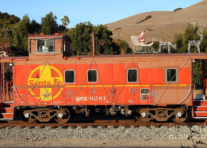 Sante Fe Greeting Card featuring the photograph Historic Niles Trains In California . Old Sante Fe Caboose . 7d10832 by Wingsdomain Art and Photography