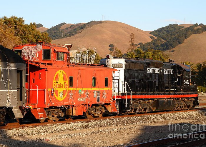 Southern Pacific Greeting Card featuring the photograph Historic Niles Trains In California . Old Southern Pacific Locomotive And Sante Fe Caboose . 7d10843 by Wingsdomain Art and Photography