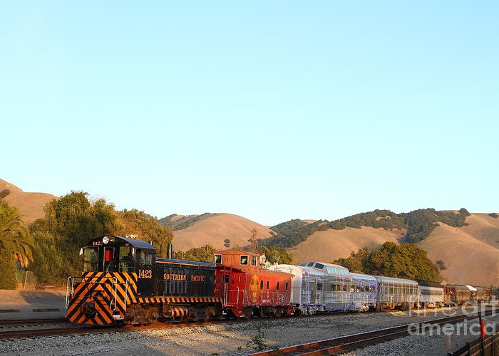 Landscape Greeting Card featuring the photograph Historic Niles Trains In California . Old Southern Pacific Locomotive And Sante Fe Caboose . 7d10869 by Wingsdomain Art and Photography