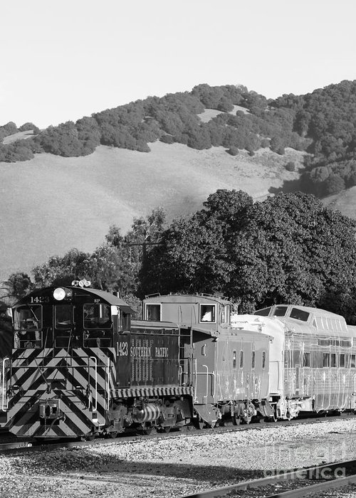 Black And White Greeting Card featuring the photograph Historic Niles Trains In California . Southern Pacific Locomotive And Sante Fe Caboose.7d10819.bw by Wingsdomain Art and Photography