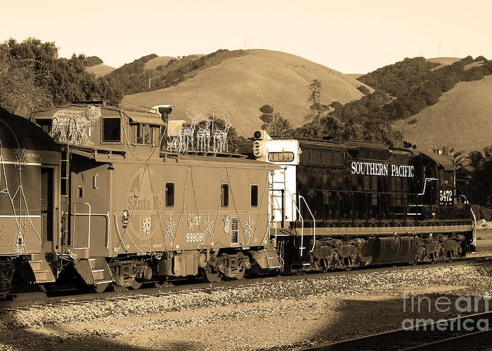 Black And White Greeting Card featuring the photograph Historic Niles Trains In California.southern Pacific Locomotive And Sante Fe Caboose.7d10843.sepia by Wingsdomain Art and Photography
