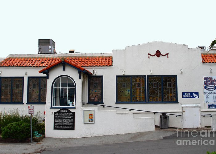 The Moss Beach Distillery Greeting Card featuring the photograph Historical Moss Beach Distillery At Half Moon Bay . 7d8172 by Wingsdomain Art and Photography
