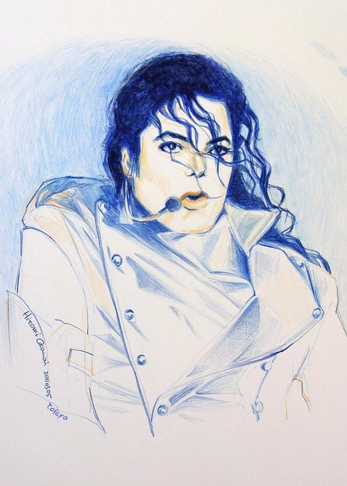 Michael Jackson Greeting Card featuring the painting History by Hitomi Osanai