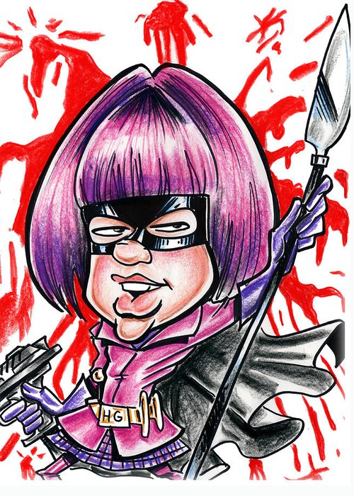 Big Mike Roate Greeting Card featuring the drawing Hitgirl by Big Mike Roate