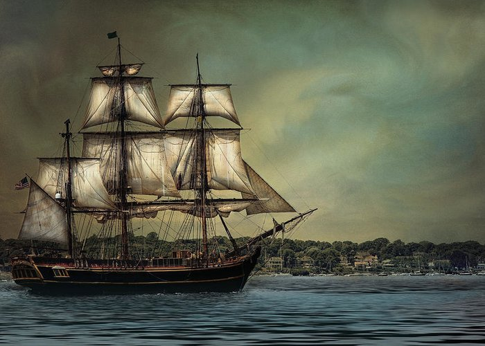 Tall Greeting Card featuring the photograph Hms Bounty by Robin-Lee Vieira