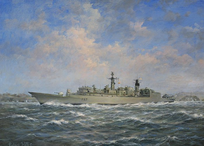 Seascape; Naval; Ship; Battleship; Warship;radar; Anti-aircraft Gun; Helicopter; F87; Frigate; Chatham; Sea; Water; Cloud; Clouds Greeting Card featuring the painting H.m.s. Chatham Type 22 - Batch 3 by Richard Willis