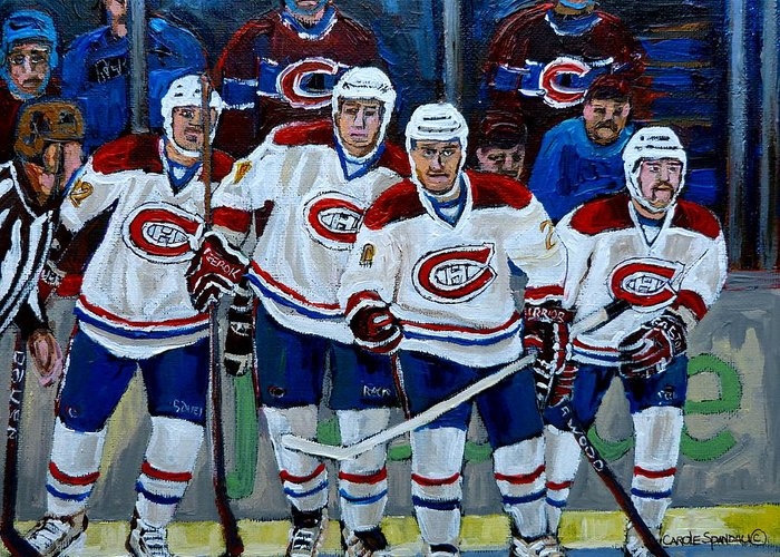 Hockey Greeting Card featuring the painting Hockey Art At Bell Center Montreal by Carole Spandau