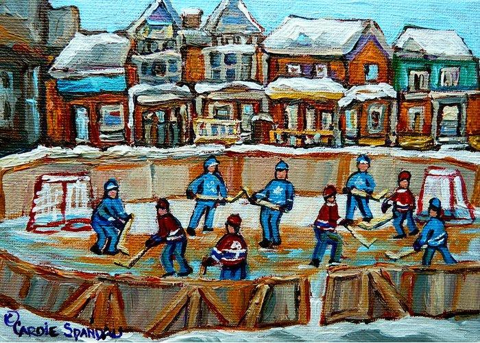 Hockey Art Greeting Card featuring the Hockey Rink Montreal Street Scene by Carole Spandau