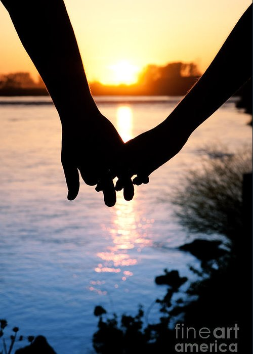 holding hands silhouette greeting card for sale by cindy singleton