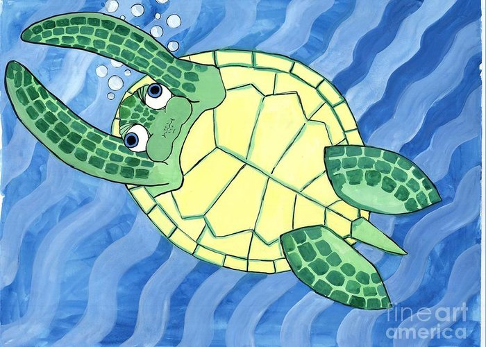 Sea Turtle Greeting Card featuring the painting Holding His Breath by Erin McNutt